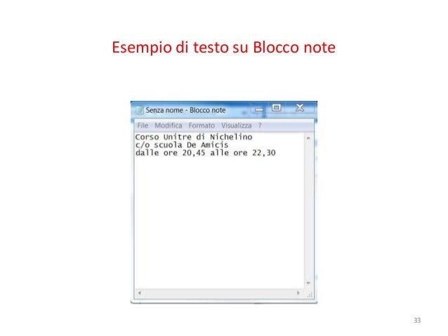 Esempio di testo su Blocco note                                  33