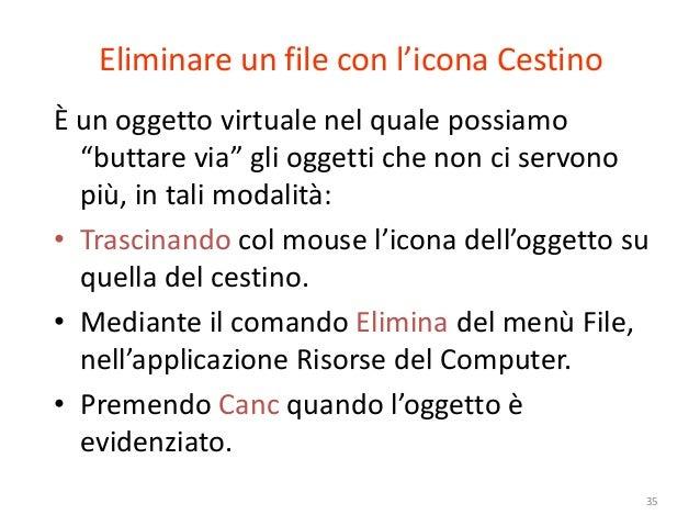 """Eliminare un file con l'icona CestinoÈ un oggetto virtuale nel quale possiamo  """"buttare via"""" gli oggetti che non ci servon..."""