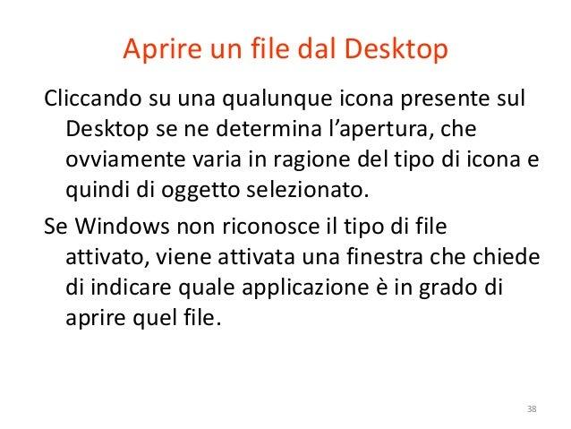 Aprire un file dal DesktopCliccando su una qualunque icona presente sul  Desktop se ne determina l'apertura, che  ovviamen...