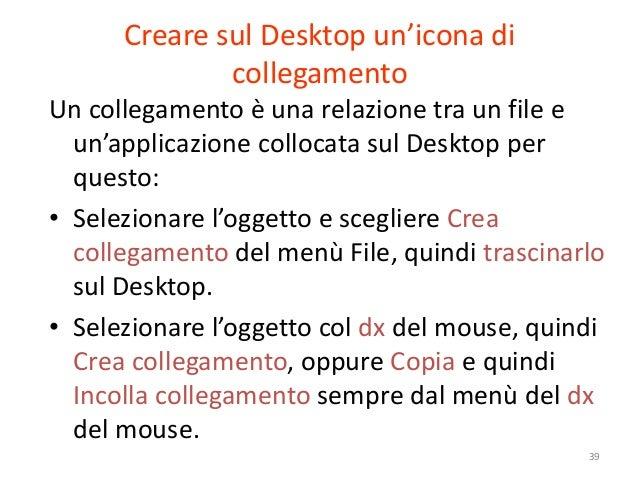 Creare sul Desktop un'icona di              collegamentoUn collegamento è una relazione tra un file e  un'applicazione col...