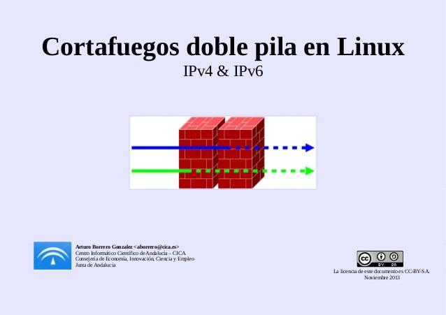 Cortafuegos doble pila en Linux IPv4 & IPv6  Arturo Borrero Gonzalez <aborrero@cica.es> Centro Informático Científico de A...