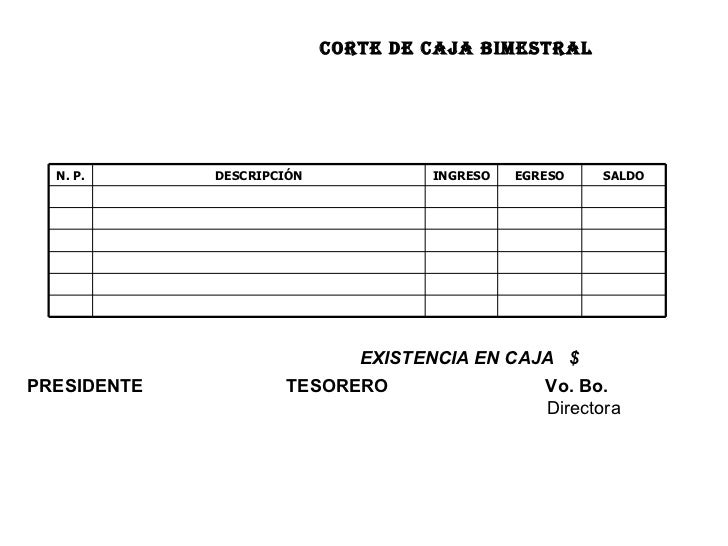 CORTE DE CAJA BIMESTRAL EXISTENCIA EN CAJA  $ PRESIDENTE     TESORERO   Vo. Bo.   Directora        SALDO EGRESO INGRESO DE...