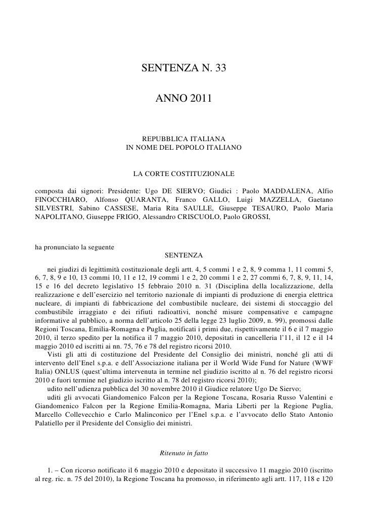 SENTENZA N. 33                                         ANNO 2011                                   REPUBBLICA ITALIANA    ...
