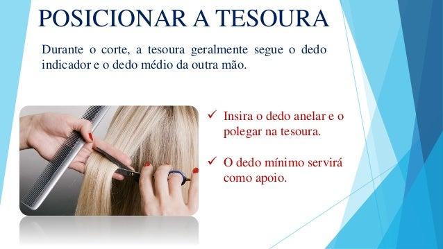 POSICIONAR A TESOURA Durante o corte, a tesoura geralmente segue o dedo indicador e o dedo médio da outra mão.  Insira o ...