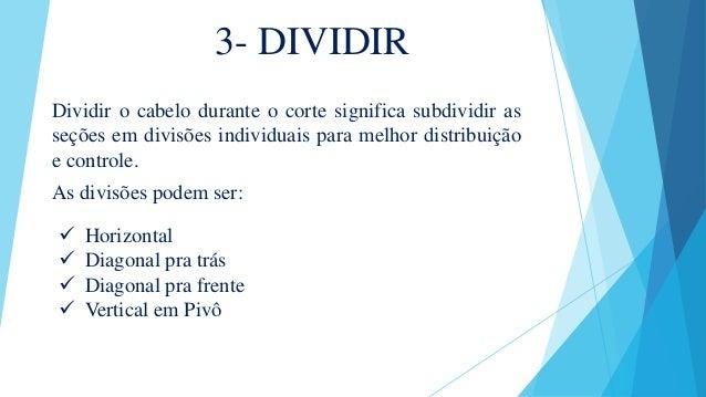 3- DIVIDIR Dividir o cabelo durante o corte significa subdividir as seções em divisões individuais para melhor distribuiçã...