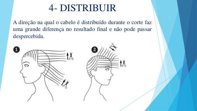 4- DISTRIBUIR A direção na qual o cabelo é distribuído durante o corte faz uma grande diferença no resultado final e não p...