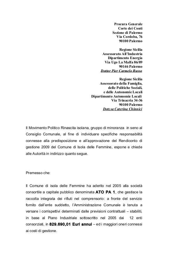 Procura Generale Corte dei Conti Sezione di Palermo Via Cordoba, 76 90100 Palermo Regione Sicilia Assessorato All'Industri...