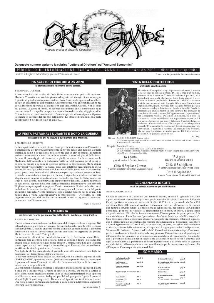 """Progetto grafico di Stefania CostantiniDa questo numero apriamo la rubrica """"Lettere al Direttore"""" ed """"Annunci Economici""""  ..."""