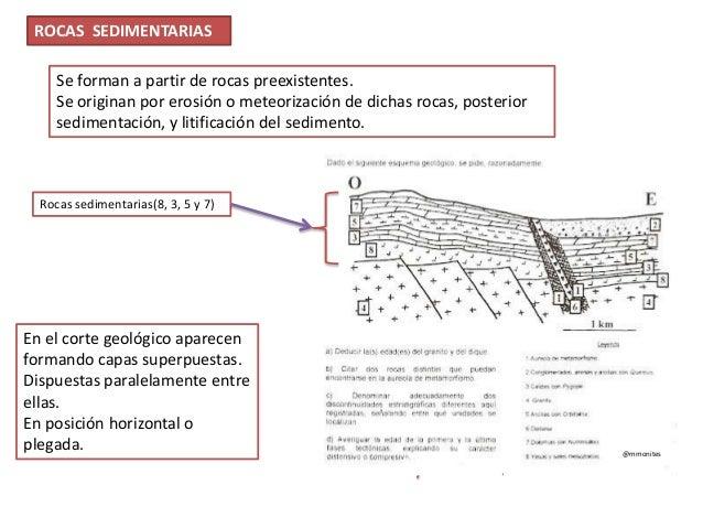ROCAS SEDIMENTARIAS Se forman a partir de rocas preexistentes. Se originan por erosión o meteorización de dichas rocas, po...