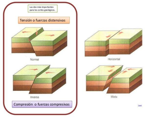 Tensión o fuerzas distensivas Compresión o fuerzas compresivas Carol Las dos más importantes para los cortes geológicos.