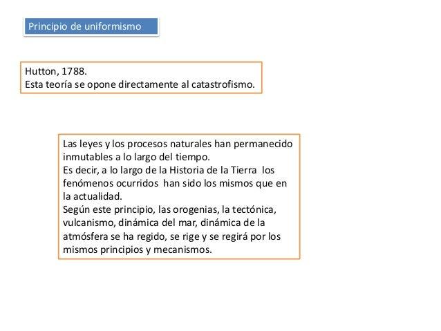 Principio de uniformismo Hutton, 1788. Esta teoría se opone directamente al catastrofismo. Las leyes y los procesos natura...