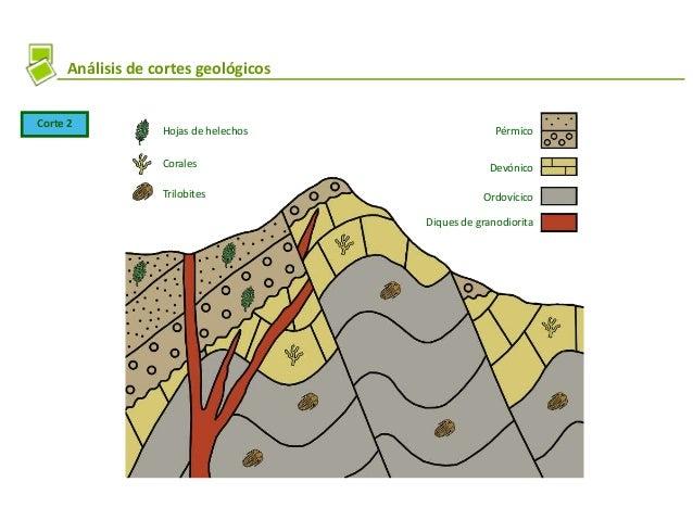 Análisis de cortes geológicos Corte 2 Hojas de helechos Corales Trilobites Diques de granodiorita Ordovícico Devónico Pérm...