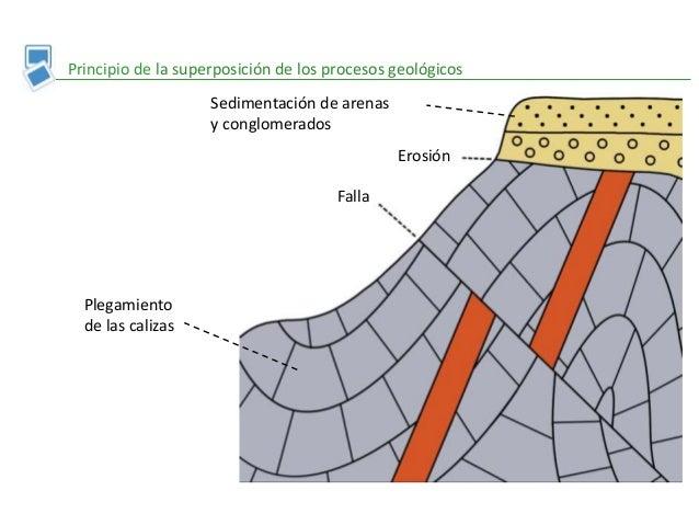 Principio de la superposición de los procesos geológicos Plegamiento de las calizas Falla Erosión Sedimentación de arenas ...
