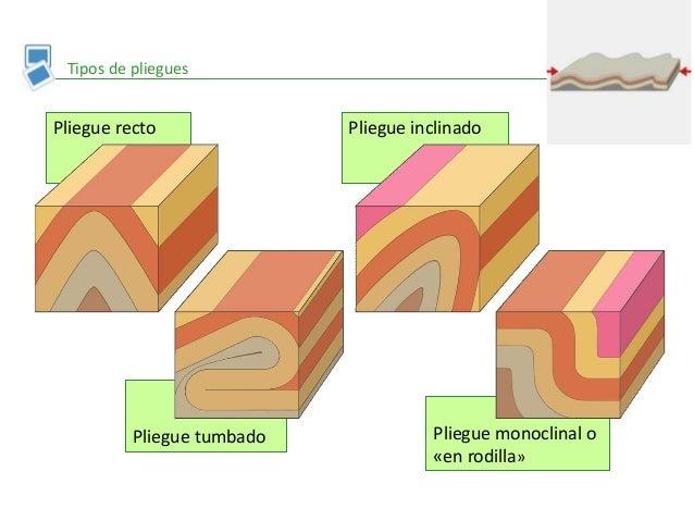 Pliegue monoclinal o «en rodilla» Pliegue inclinado Pliegue tumbado Pliegue recto Tipos de pliegues