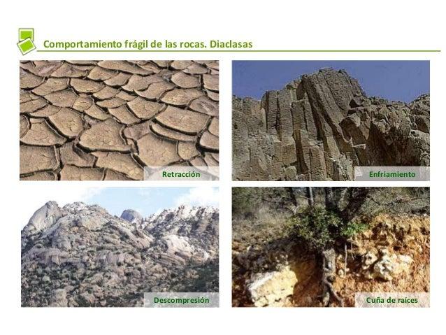 Comportamiento frágil de las rocas. Diaclasas Retracción Descompresión Cuña de raíces Enfriamiento