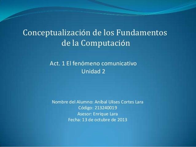 Conceptualización de los Fundamentos de la Computación Act. 1 El fenómeno comunicativo Unidad 2  Nombre del Alumno: Aníbal...