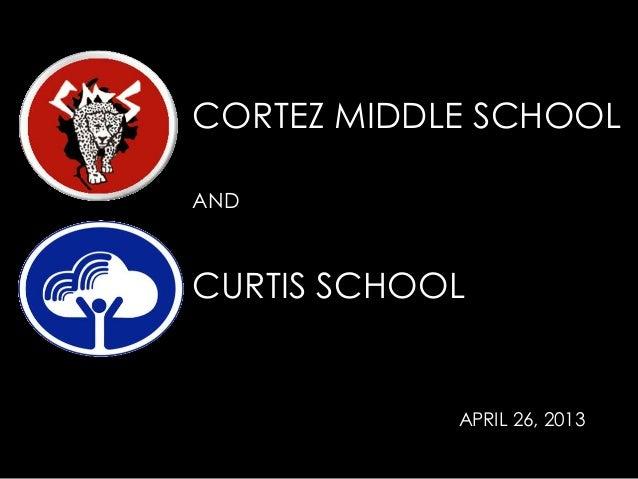 CORTEZ MIDDLE SCHOOLANDCURTIS SCHOOLAPRIL 26, 2013