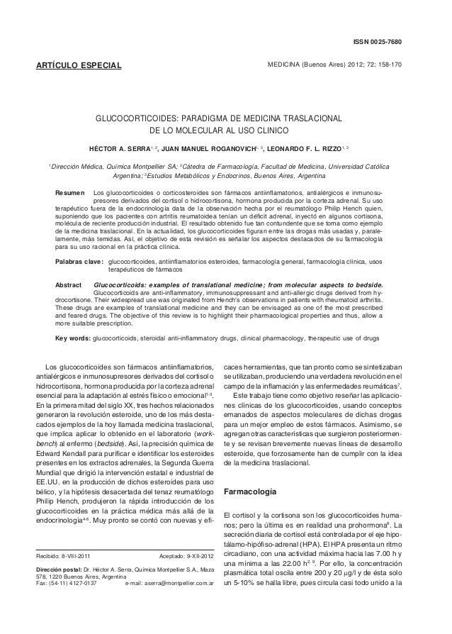 MEDICINA - Volumen 72 - Nº 2, 2012158 ARTÍCULO ESPECIAL MEDICINA (Buenos Aires) 2012; 72: 158-170 ISSN 0025-7680 GLUCOCORT...