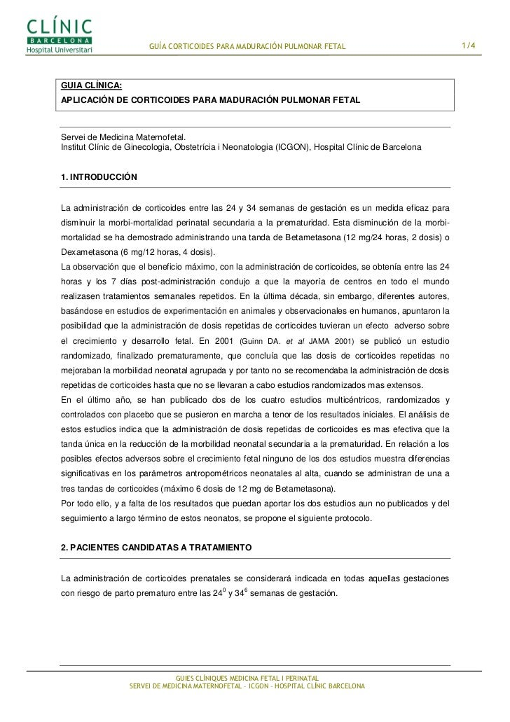 GUÍA CORTICOIDES PARA MADURACIÓN PULMONAR FETAL                                   1/4GUIA CLÍNICA:APLICACIÓN DE CORTICOIDE...