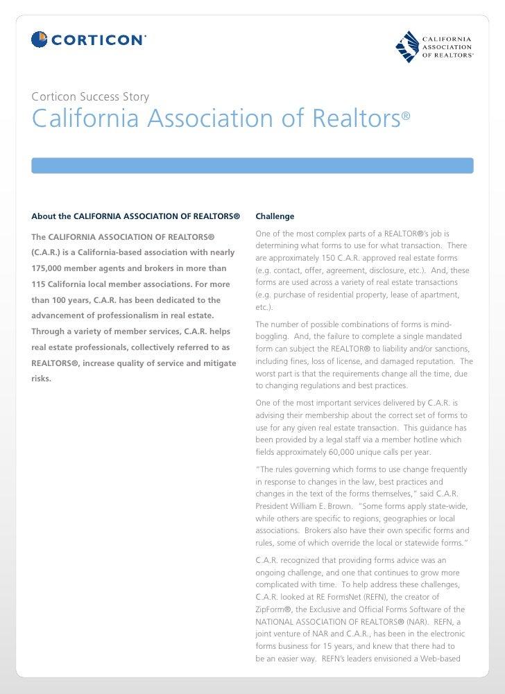 Corticon Success StoryCalifornia Association of Realtors®About the CALIFORNIA ASSOCIATION OF REALTORS®            Challeng...