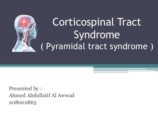 Corticospinal Tract                    Syndrome           ( Pyramidal tract syndrome )Presented by :Ahmed Abdullatif Al Aw...