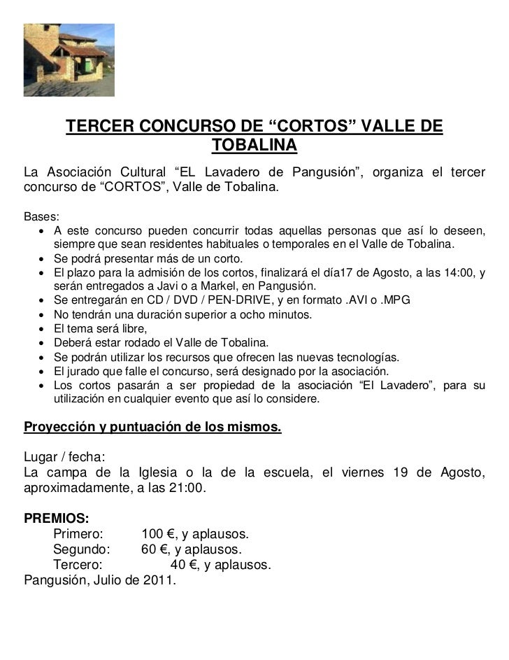 """TERCER CONCURSO DE """"CORTOS"""" VALLE DE                     TOBALINALa Asociación Cultural """"EL Lavadero de Pangusión"""", organi..."""