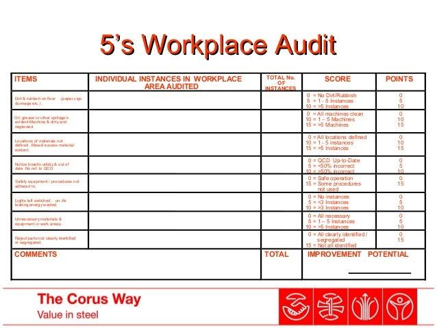 workplace audit5 s workplace audit items individual instances