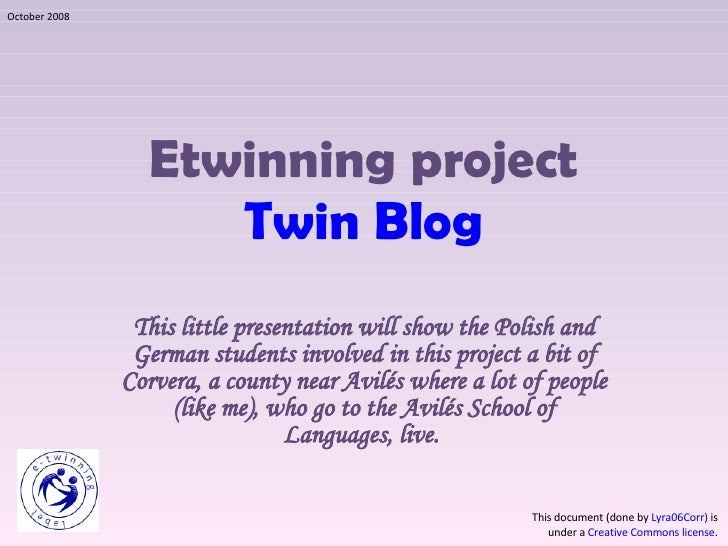 Etwinning project Twin Blog This little presentation will show the Polish and German students involved in this project a b...