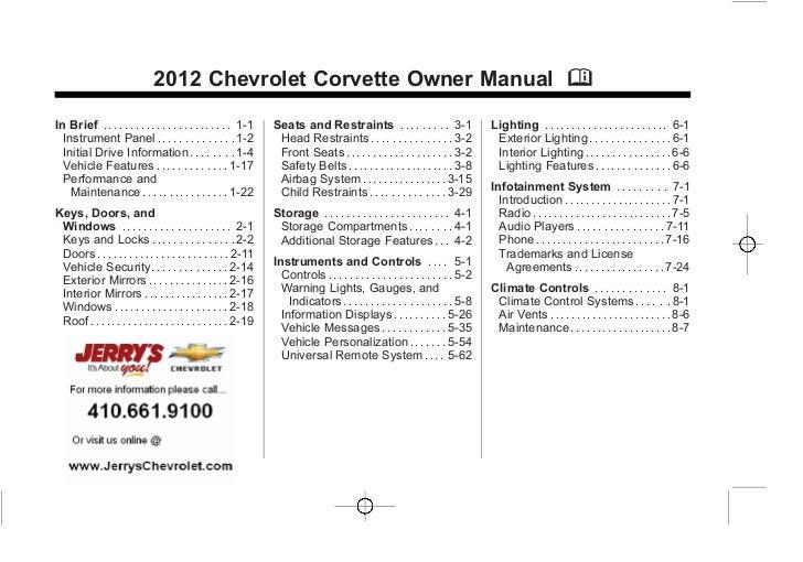 Chevrolet Corvette Owner Manual - 2012                                                                                    ...