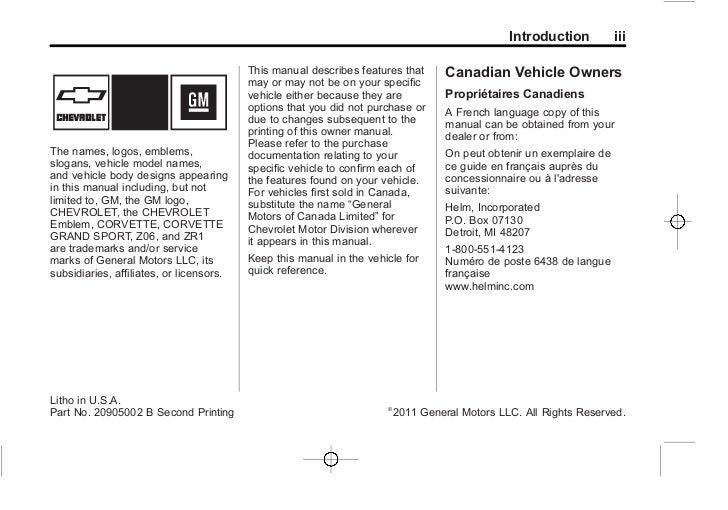 2012 chevy corvette owners manual rh slideshare net 2014 corvette owners manual 2005 Corvette