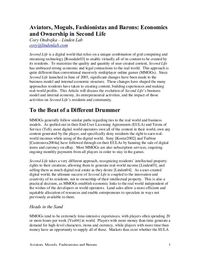 Aviators, Moguls, Fashionistas and Barons 1 Aviators, Moguls, Fashionistas and Barons: Economics and Ownership in Second L...