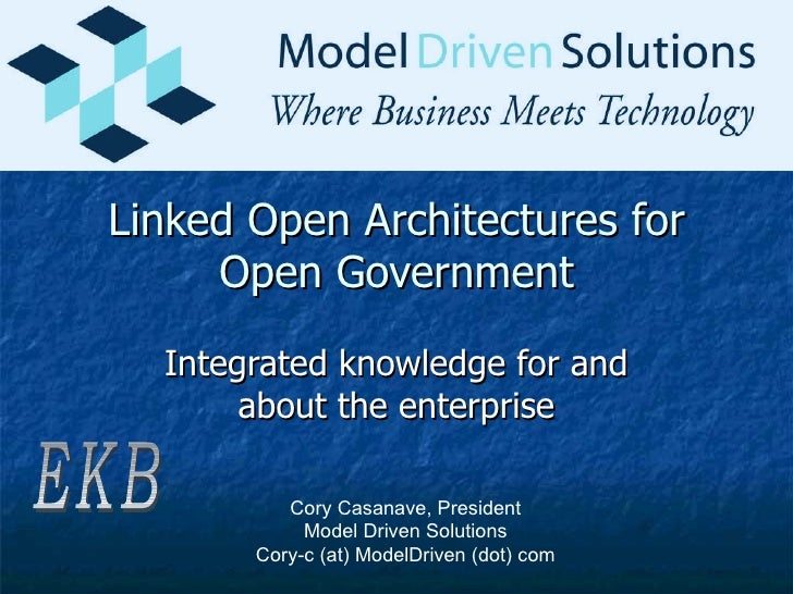 Linked Open Architectures for Open Government Integrated knowledge for and about the enterprise EKB Cory Casanave, Preside...