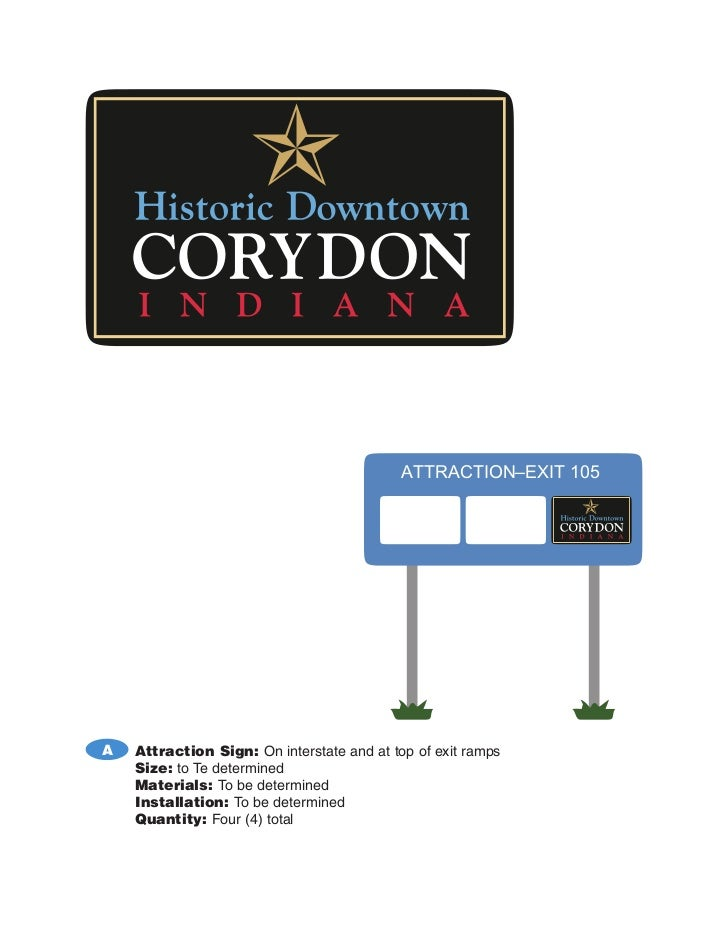 ATTRACTION–EXIT 105A   Attraction Sign: On interstate and at top of exit ramps    Size: to Te determined    Materials: To ...