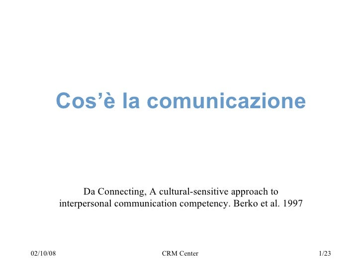 Cos'è la comunicazione Da Connecting, A cultural-sensitive approach to interpersonal communication competency. Berko et al...