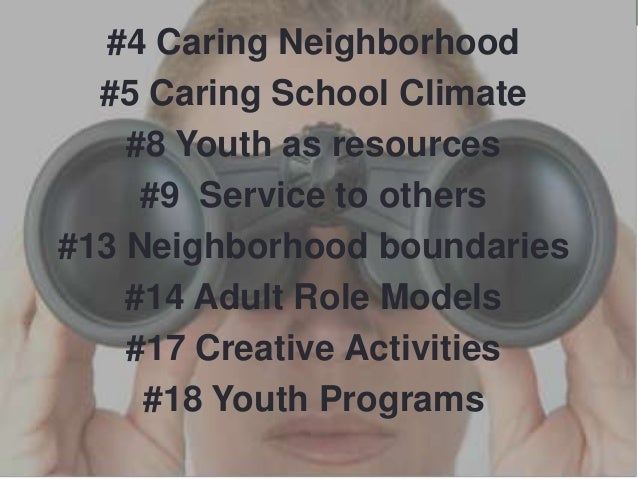 #4 Caring Neighborhood #5 Caring School Climate #8 Youth as resources #9 Service to others #13 Neighborhood boundaries #14...