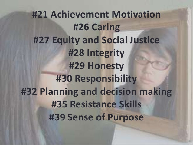 #21 Achievement Motivation #26 Caring #27 Equity and Social Justice #28 Integrity #29 Honesty #30 Responsibility #32 Plann...