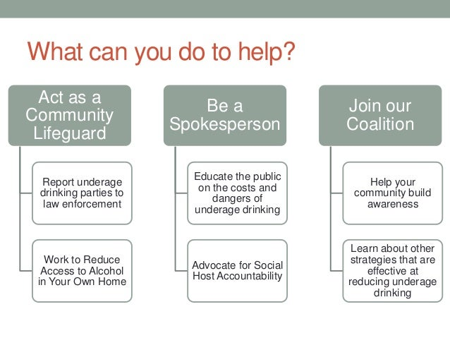 What can you do to help? Act as a Community Lifeguard Report underage drinking parties to law enforcement Work to Reduce A...