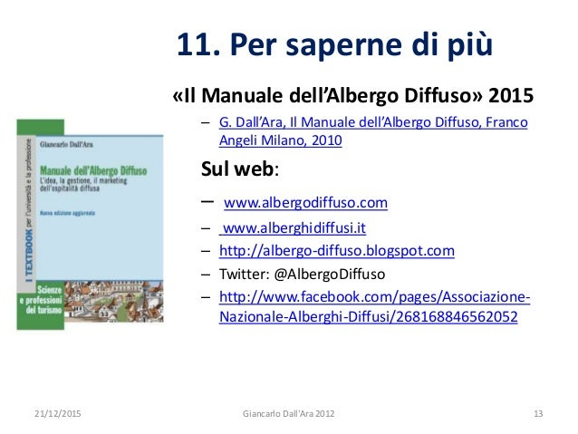«Il Manuale dell'Albergo Diffuso» 2015 – G. Dall'Ara, Il Manuale dell'Albergo Diffuso, Franco Angeli Milano, 2010 Sul web:...