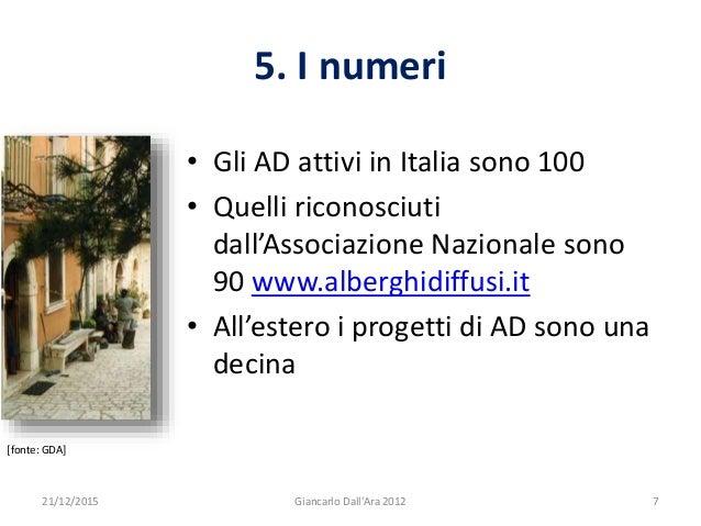 5. I numeri • Gli AD attivi in Italia sono 100 • Quelli riconosciuti dall'Associazione Nazionale sono 90 www.alberghidiffu...