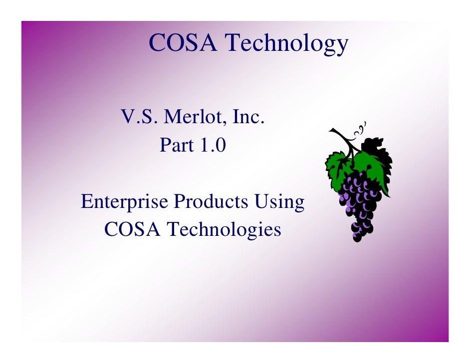 COSA Technology    V.S. Merlot, Inc.        Part 1.0Enterprise Products Using  COSA Technologies