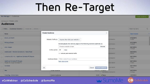 #CoWebinar @CoSchedule @SumoMe Then Re-Target