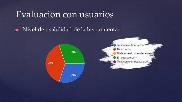 Evaluación con usuarios ❧ Nivel de usabilidad de la herramienta: