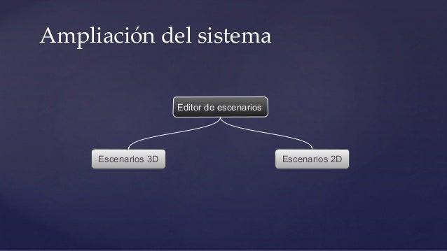 Ampliación del sistema Editor de escenarios Escenarios 3D Escenarios 2D