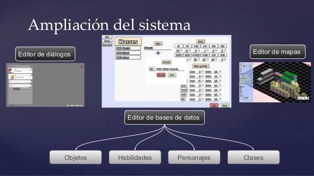 Ampliación del sistema Editor de mapasEditor de diálogos Personajes Clases Editor de bases de datos HabilidadesObjetos
