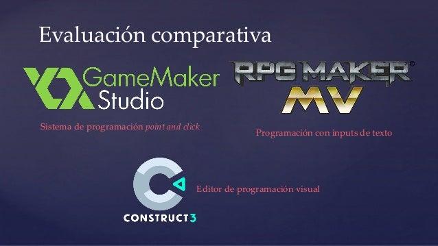Evaluación comparativa Programación con inputs de texto Editor de programación visual Sistema de programación point and cl...