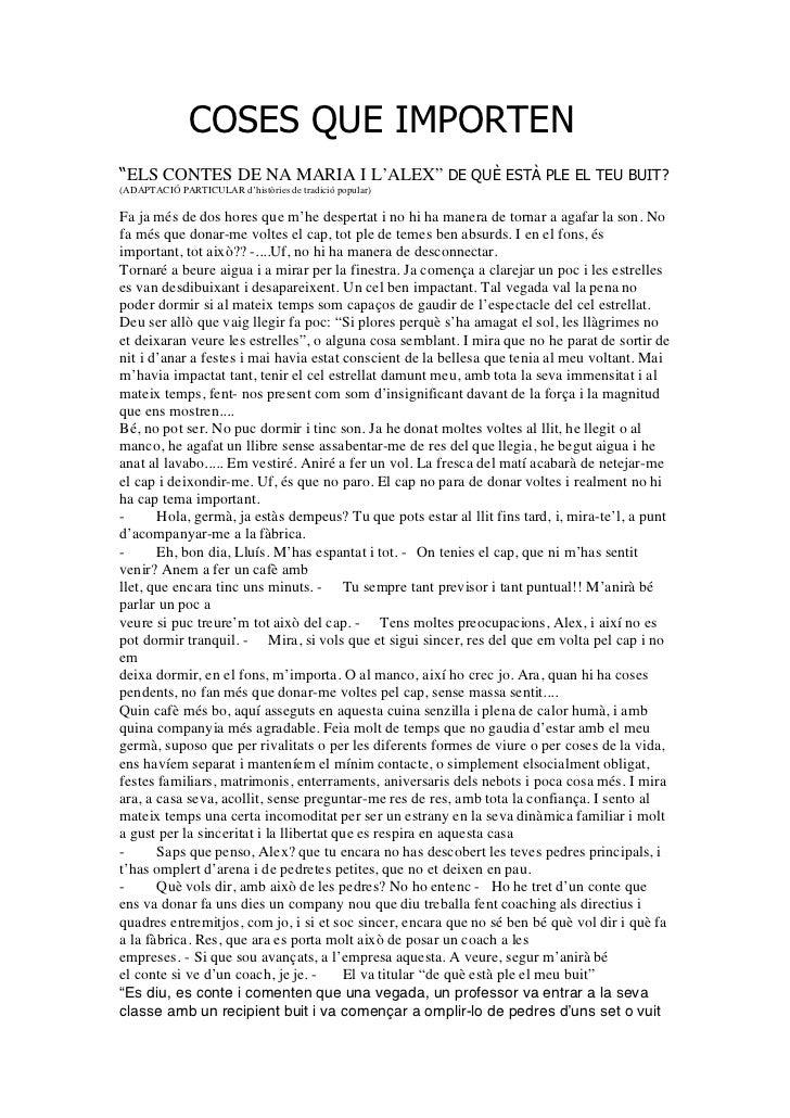 """COSES QUE IMPORTEN""""ELS CONTES DE NA MARIA I L'ALEX"""" DE QUÈ ESTÀ PLE EL TEU BUIT?(ADAPTACIÓ PARTICULAR d'històries de tradi..."""