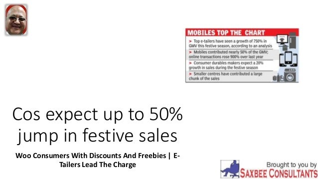 Cos expect up to 50% jump in festive sales Woo Consumers With Discounts And Freebies | E- Tailers Lead The Charge