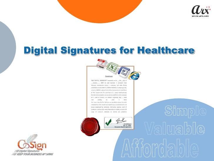 Digital Signatures for Healthcare