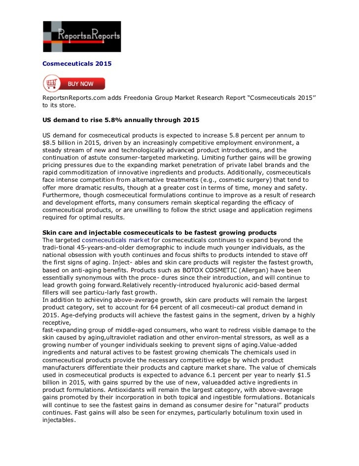 """Cosmeceuticals 2015ReportsnReports.com adds Freedonia Group Market Research Report """"Cosmeceuticals 2015''to its store.US d..."""