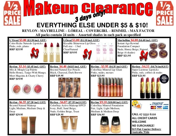 Cosmetic Closeouts - Closeouts Overstock 1-800-593-8595
